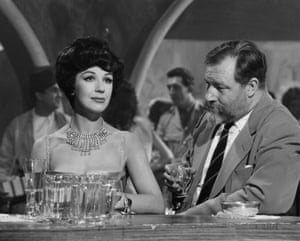 Fenella Fielding and James Robertson Justice in the 1960 film Foxhole in Cairo