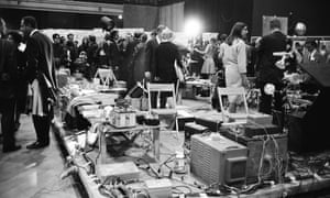 State of the art … audience members wander through the performance space at 9 Evenings: Theatre and Engineering in 1966.