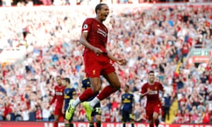 """Premier League - Liverpool v Arsenal<br>Soccer Football - Premier League - Liverpool v Arsenal - Anfield, Liverpool, Britain - August 24, 2019  Liverpool's Joel Matip celebrates scoring their first goal   REUTERS/Phil Noble  EDITORIAL USE ONLY. No use with unauthorized audio, video, data, fixture lists, club/league logos or """"live"""" services. Online in-match use limited to 75 images, no video emulation. No use in betting, games or single club/league/player publications.  Please contact your account representative for further details.     TPX IMAGES OF THE DAY"""