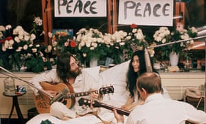 John Lennon and Yoko Ono at their bed-in in Montreal, 1969