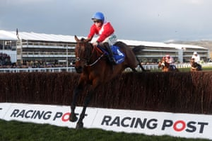A Plus Tard ridden by Rachael Blackmore clear the last to win the Novices' Handicap Chase.