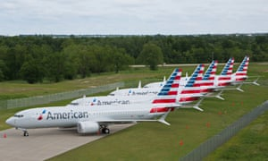 American Airlines Max jets parked in Tulsa, Oklahoma