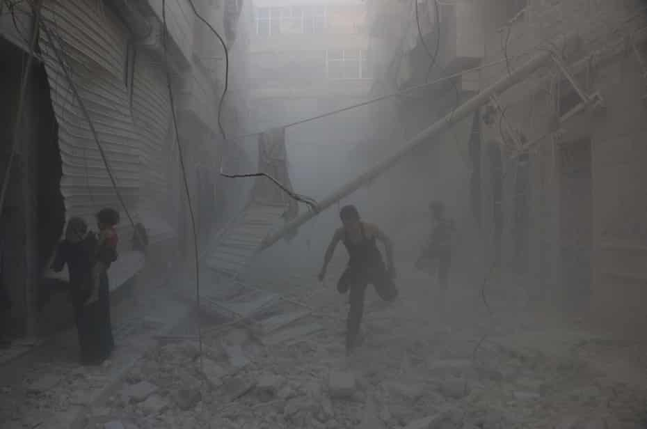 A street in an opposition-controlled part of Aleppo after regime helicopters targeted a medical centre on Friday.