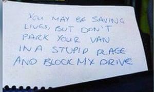 The handwritten message left on an ambulance.