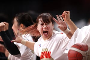 Japan's Amane Yanagimoto celebrates during the women's wheelchair basketball group game against Great Britain, which the hosts won 54-48.
