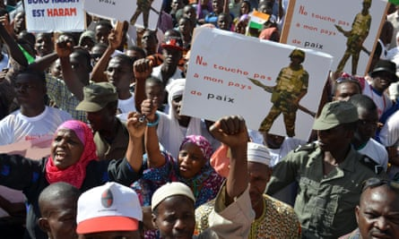 People in Niger's capital of Naimey protest against Boko Haram's violence