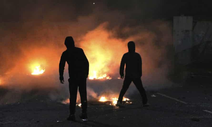 Violence on Lanark Way in West Belfast on 7 April.