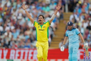 Starc appeals successfully for Bairstow's wicket.