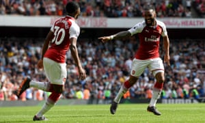Lacazette celebrates scoring the fourth for The Gunners.