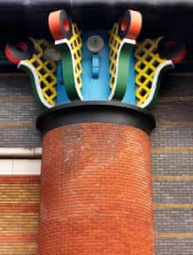 Curls of colour … latticework on the columns.