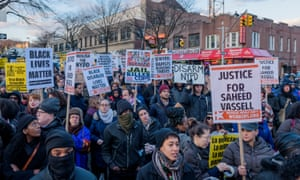 Hundreds of people march for Saheed Vassell in Brooklyn, New York