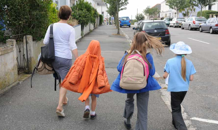 Children returning home from school in Falmouth..