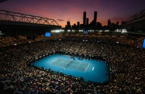 The sun sets over Rod Laver Arena