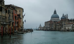 Empty Venice … tourist numbers have been hit by the virus scare.