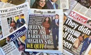 Newspaper coverage of Prince Harry and Meghan's announcement