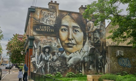 The memorial mural of Sylvia Pankhurst and the east London suffragettes on the site of the original Women's Hall in Bow.