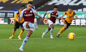 Aston Villa's Anwar El Ghazi scores a penalty for the opening goal of the game.