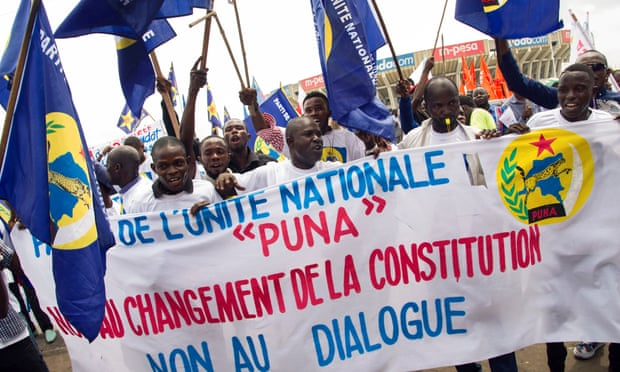 National Unity party demonstrators in the Democratic Republic of the Congo call for elections on 24 April 2016. The banner reads: 'No to constitutional change, No to talks'.