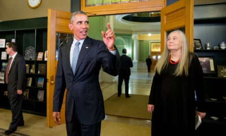 Lessons in leadership ... Barack Obama arriving at the State Library of Iowa to interview Marilynne Robinson, (right). (AP Photo/Andrew Harnik)