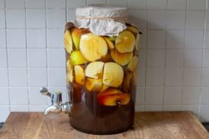 Tom Hunt's homemade raw apple cider vinegar.