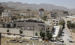 The destroyed funeral hall in Sanaa, Yemen