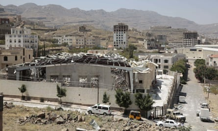 A funeral hall where 140 people died after an airstrike by Saudi-led forces in October 2016 in Sana'a.