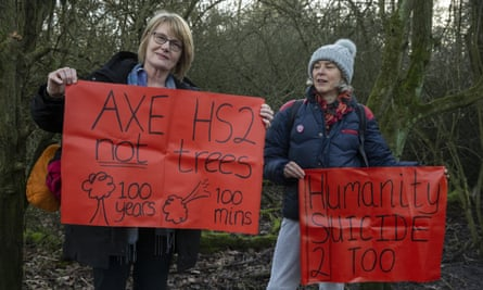 Anti-HS2 protesters in Colne Valley last month, calling for an end to the tree-felling.