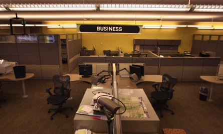 A section of the Rocky Mountain News newsroom sits empty in Denver, Colorado. Colorado's oldest newspaper closed in 2009.