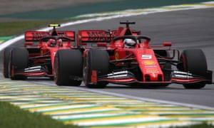 Charles Leclerc and Sebastian Vettel racing