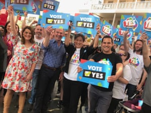 Sarah Hanson-Young, Christopher Pyne, Penny Wong and Alex Greenwich at a marriage equality rally in Adelaide on Sunday.