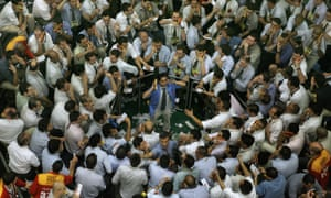 Brazil's stock traders negotiating at the future dollar pit at the Mercantile & Futures Exchange (BM&F), in Sao Paulo, Brazil in August 2007.