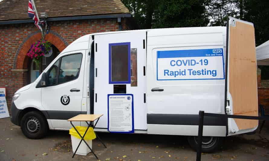 Covid testing station in back of van