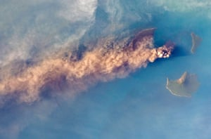 Indonesia's Mount Krakatoa erupts in the Sunda Strait, as viewed from the International Space Station