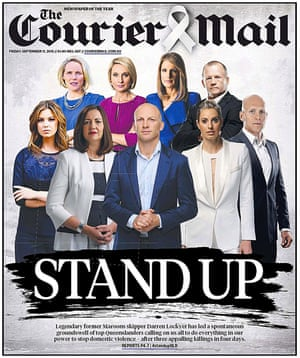The front page of the Brisbane Courier mail on Friday.