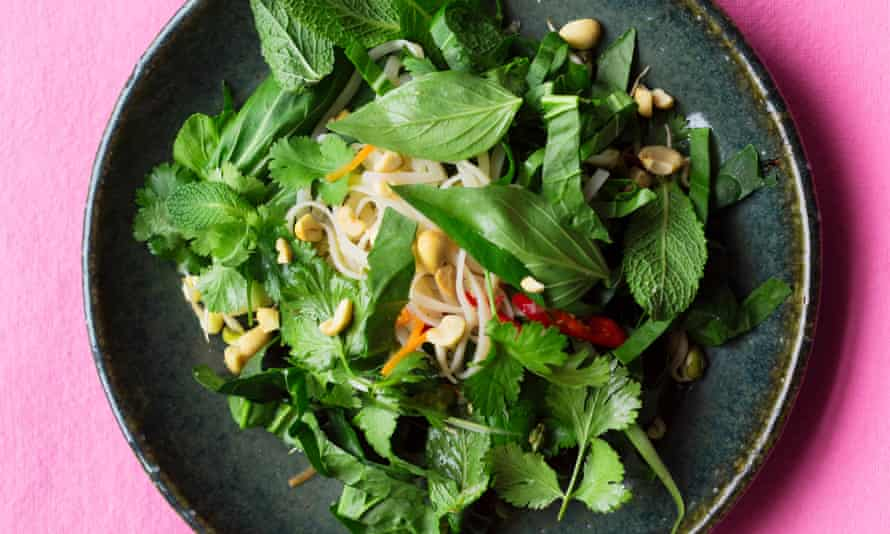 Noodle salad with sprouted beans and peanuts by Nigel Slater