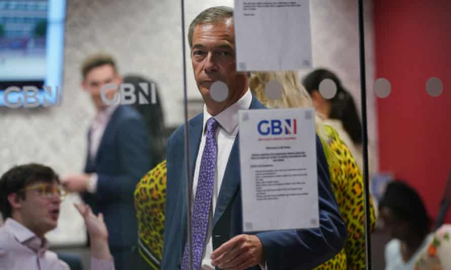 Nigel Farage in the green room, during the launch event for GB News