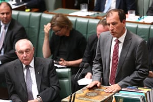 Special minister for State Mal Brough during question time in the House of Representatives in Canberra this afternoon, Friday 30th November 2015