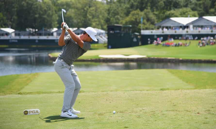 Thorbjorn Olesen plays his shot from the 17th tee.