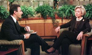 Hillary Clinton speaks with Matt Lauer during an interview on NBC's Today show during the Monica Lewinsky scandal.