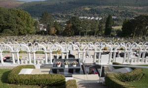 The graves of the victims of the Aberfan disaster.