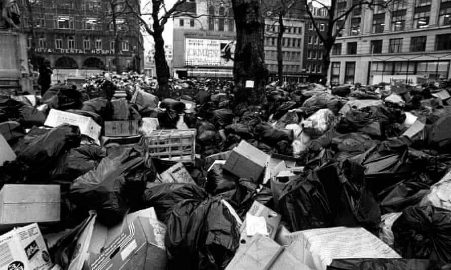 Rubbish piled up in Leicester square
