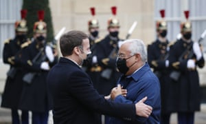 Emmanuel Macron welcomed the Portuguese PM Antonio Costa in the courtyard of the Elysee Palace before a working lunch.