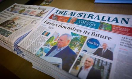 News Corp's long-standing rivalry with Fairfax is splashed on the Australia's front page in June 2012.