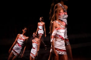 A multiple exposure picture shows a model at Mercedes-Benz fashion week in Madrid, Spain
