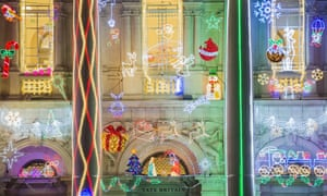 Tate Britain's neoclassic facade has been jazzed up for the festive period.
