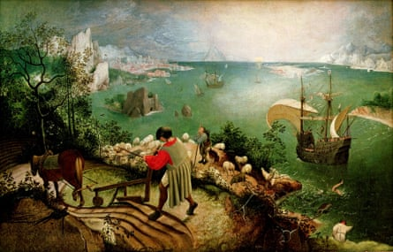 Depicts ordinary people playing out the allegory … Bruegel's Landscape With the Fall of Icarus (1560s).