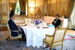 Emmanuel Macron meets with with Spanish Prime Minister Pedro Sanchez in Paris