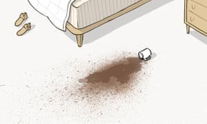 Illustration showing a coffee cup spilt on a white carpet