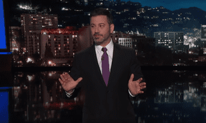 Jimmy Kimmel: 'This also might be the first time I've seen Sarah Sanders take the woman's side on any subject ever.'