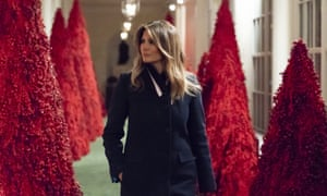 Berry creepy … Melania Trump surveys the White House Christmas decorations.